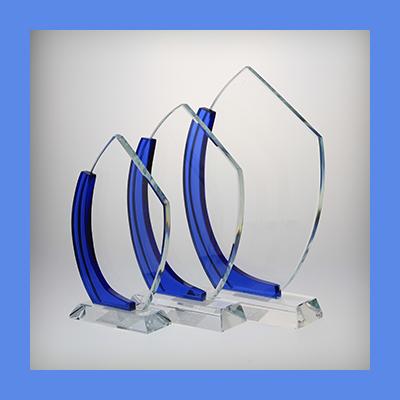 זכוכית לחריתה מפרש עיטור כחול - CB139